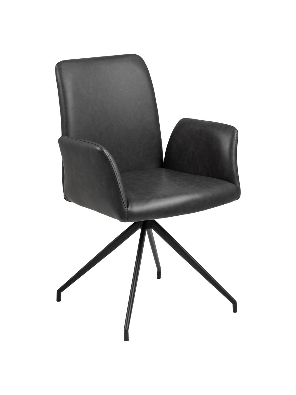 Krzesło obrotowe ze sztucznej skóry Naya, Tapicerka: sztuczna skóra, Stelaż: metal malowany proszkowo, Sztuczna skóra antracytowa, S 59 x G 59 cm
