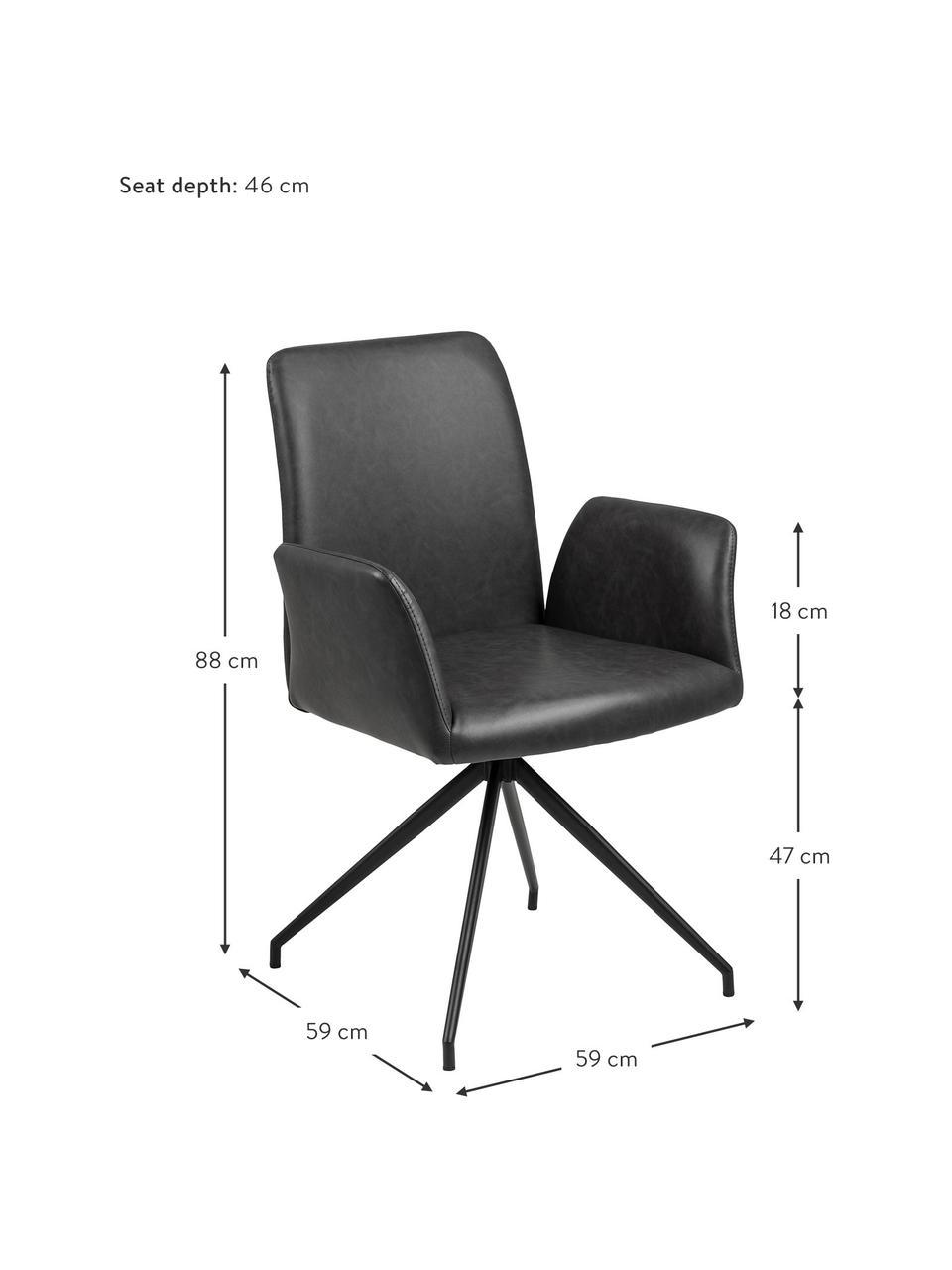 Krzesło obrotowe ze sztucznej skóry Naya, Tapicerka: sztuczna skóra, Stelaż: metal malowany proszkowo, Czarny, S 59 x G 59 cm