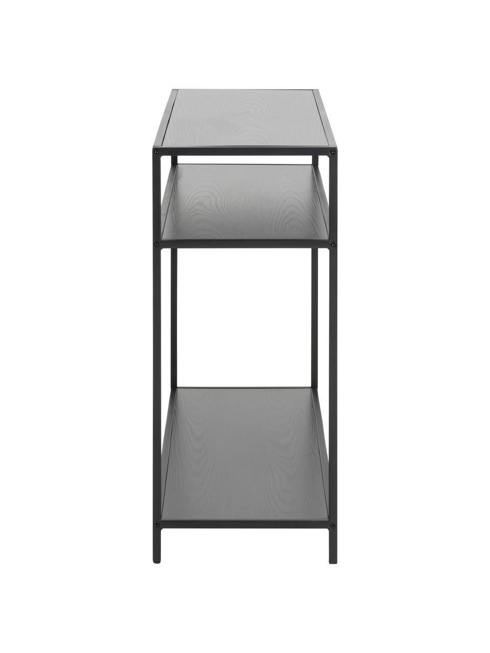 Konsole Seaford aus Holz und Metall, Einlegeböden: Mitteldichte Holzfaserpla, Gestell: Metall, pulverbeschichtet, Schwarz, B 100 x T 35 cm