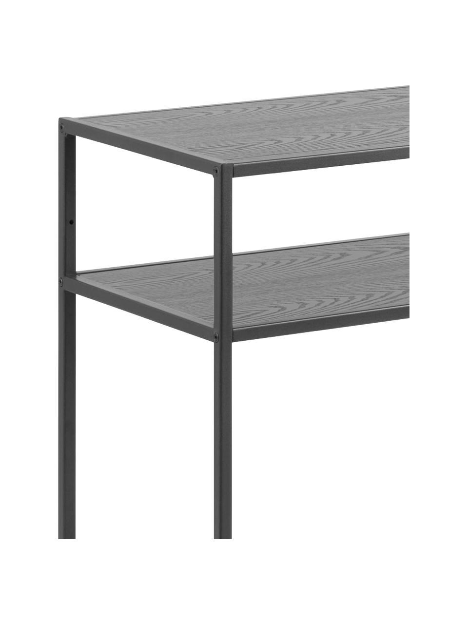 Consolle in metallo con 3 ripiani Seaford, Ripiani: pannello di fibra a media, Struttura: metallo verniciato a polv, Nero, Larg. 100 x Prof. 35 cm