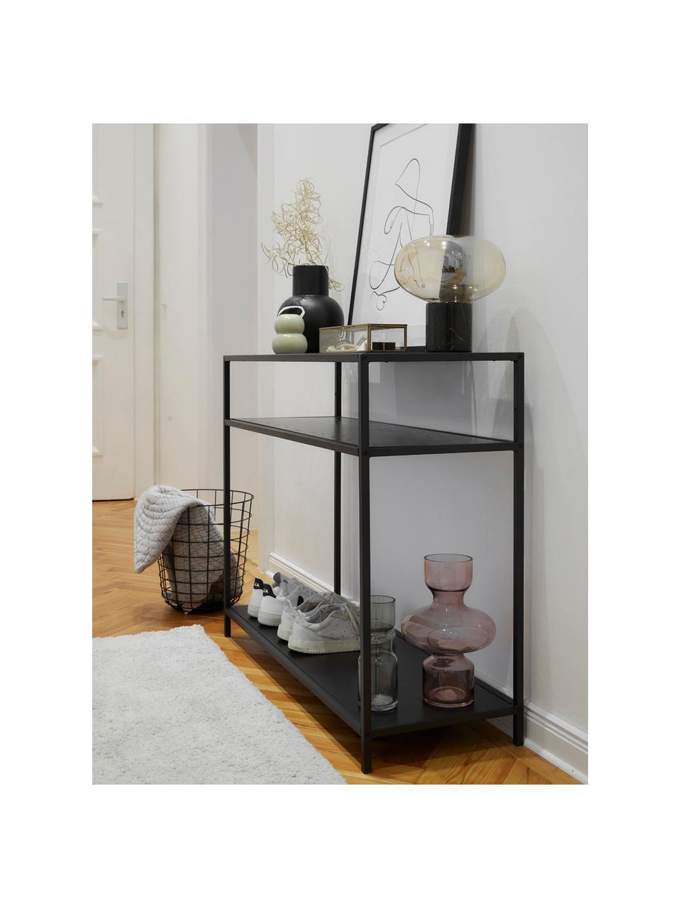 Sidetable Seaford van hout en metaal, Frame: gepoedercoat metaal, Zwart, 100 x 35 cm