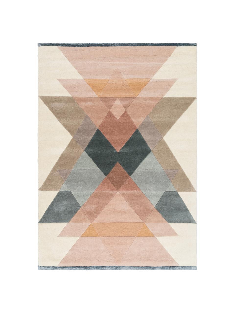 Handgetuft design vloerkleed Freya van wol, Bovenzijde: 95% wol, 5% viscose, Onderzijde: 100% katoen Bij wollen vl, Beigetinten, roze, blauwgrijs, B 140 x L 200 cm (maat S)