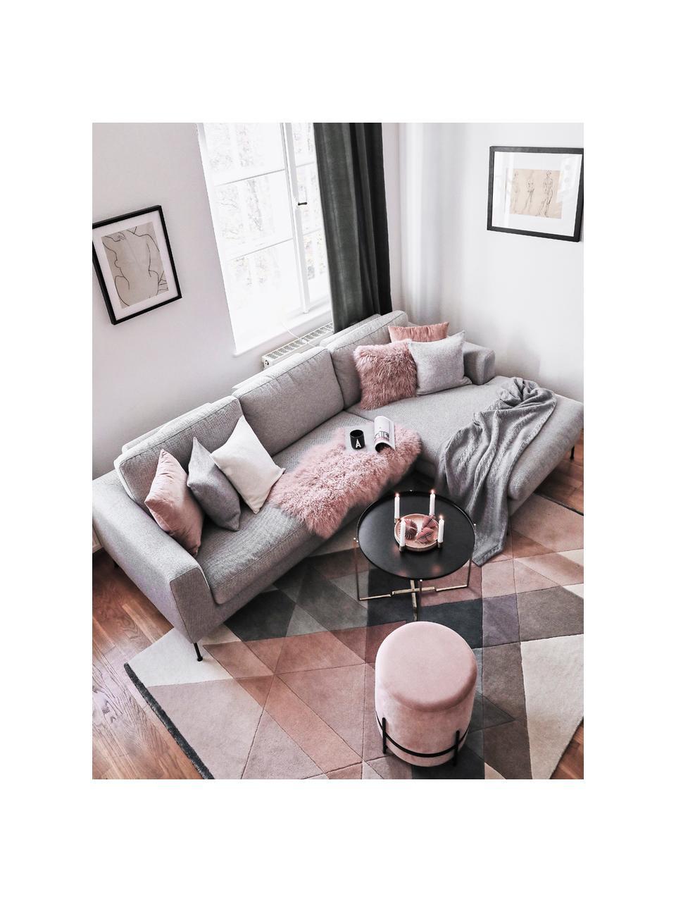 Handgetufteter Designteppich Freya aus Wolle, Flor: 95% Wolle, 5% Viskose, Beigetöne, Rosa, Blaugrau, B 140 x L 200 cm (Größe S)