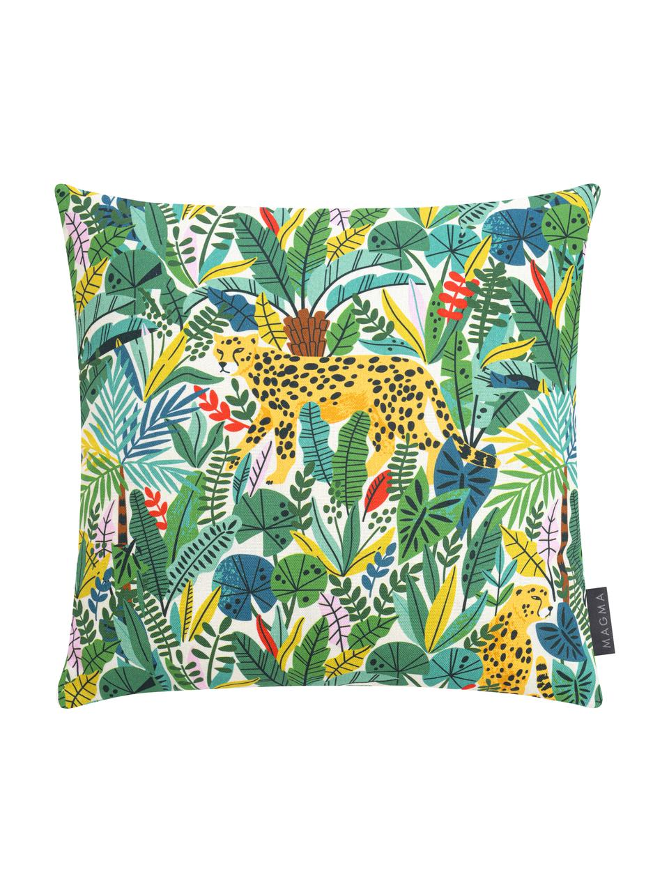 Kissenhülle Wildlife mit Jungle Motiv, Webart: Halbpanama, Grün, Mehrfarbig, 40 x 40 cm