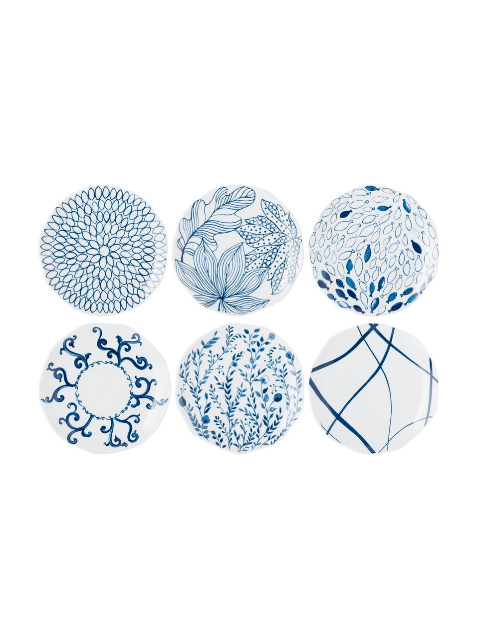 Set van 6 dessertborden met patroon Vassoio in wit/blauw, Porselein, Blauw, wit, Ø 20 cm
