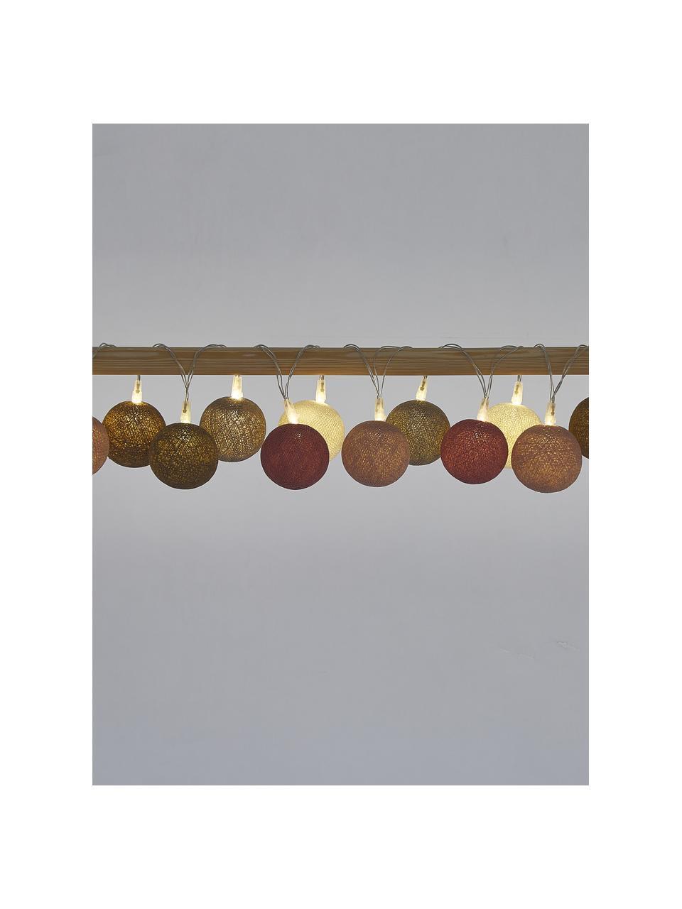 LED-Lichterkette Colorain, 378 cm, 20 Lampions, Braun, Rosa, Cremeweiß, Grau, L 378 cm