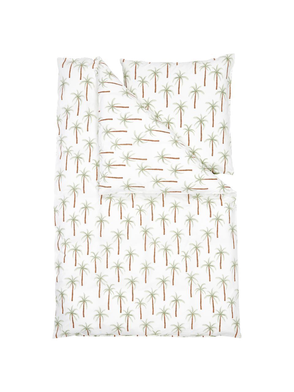 Pościel z organicznego perkalu Martha, Biały, zielony, brązowy, 200 x 200 cm + 2 poduszka 80 x 80 cm