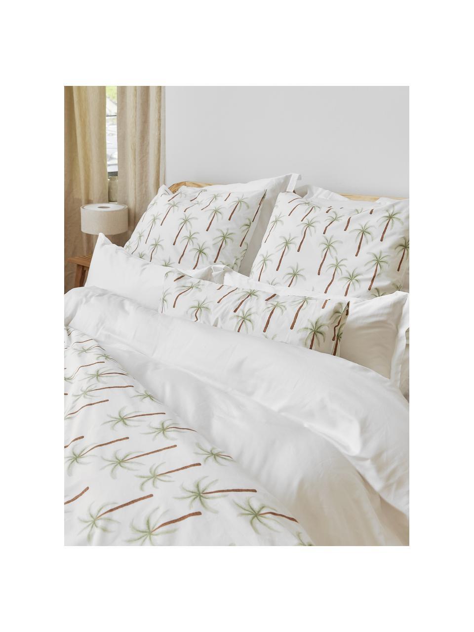 Perkal-Bettwäsche Martha aus Bio-Baumwolle mit Palmen-Print, Webart: Perkal Fadendichte 180 TC, Weiß, Grün, Braun, 240 x 220 cm + 2 Kissen 80 x 80 cm