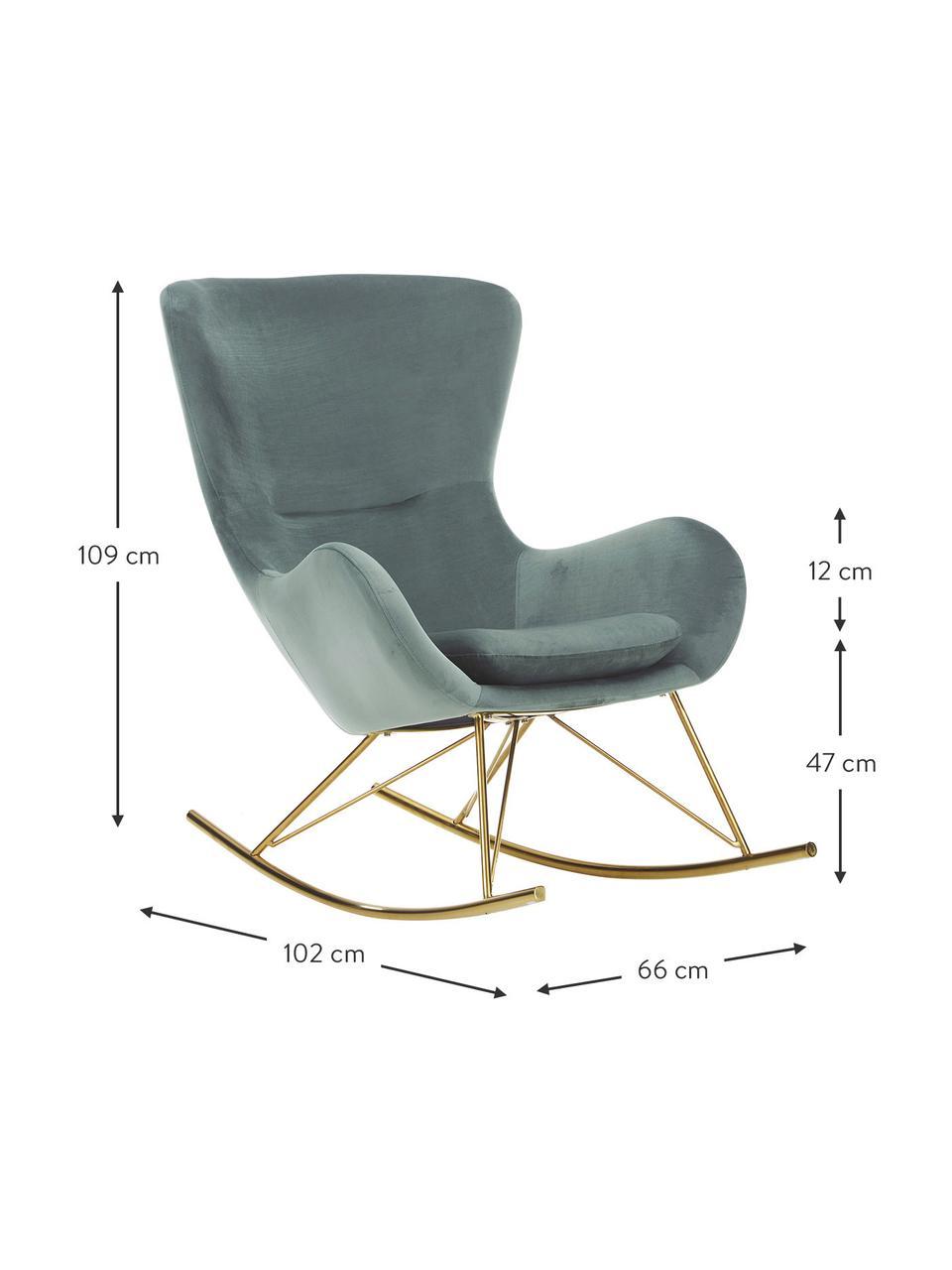 Fotel bujany uszak z aksamitu Wing, Tapicerka: aksamit (poliester) Dzięk, Stelaż: metal galwanizowany, Aksamitny szałwiowy zielony, odcienie złotego, S 66 x G 102 cm