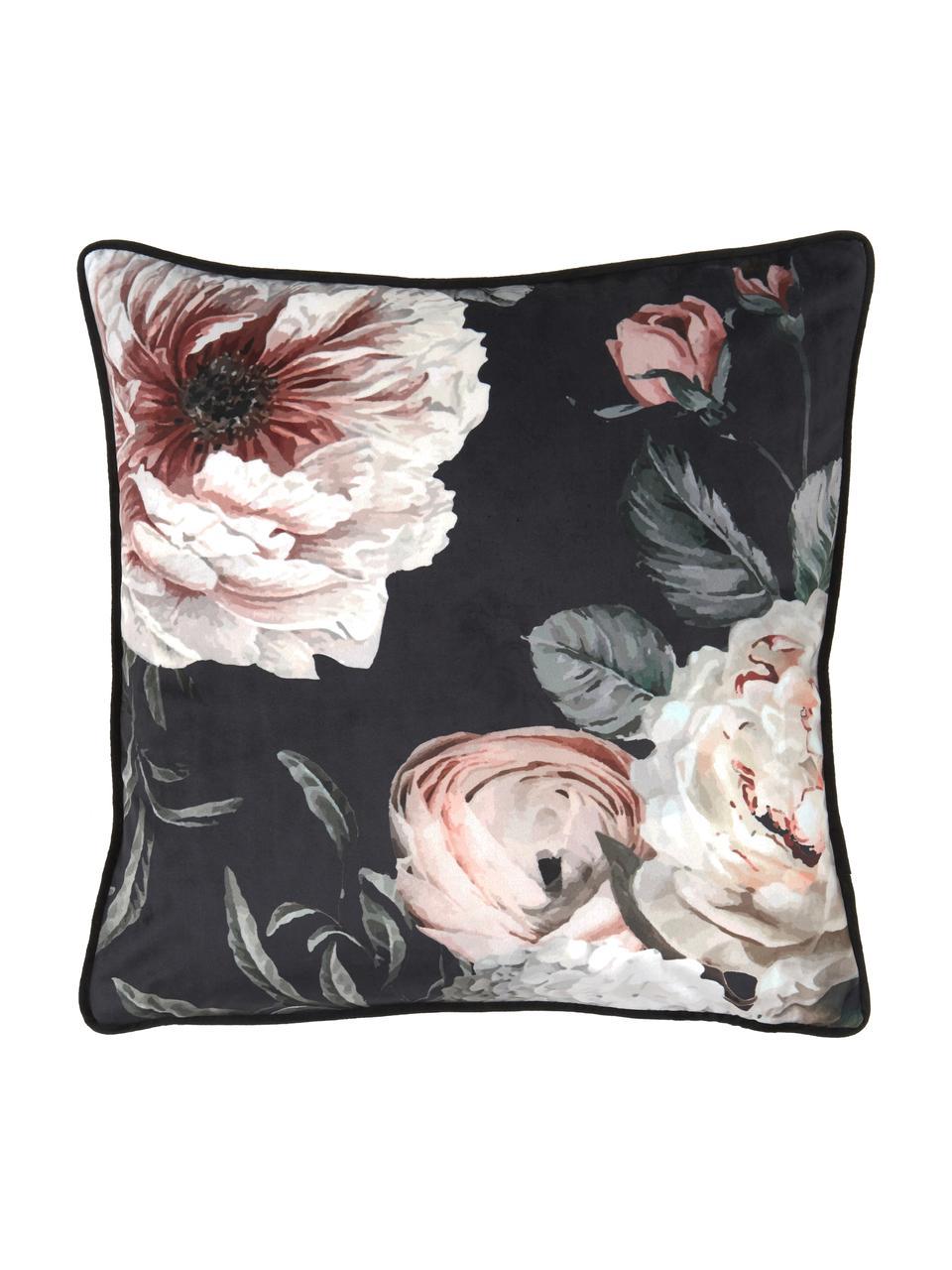 Samt-Kissenhülle Blossom mit Blumen-Print, 100% Polyestersamt, Schwarz, 45 x 45 cm
