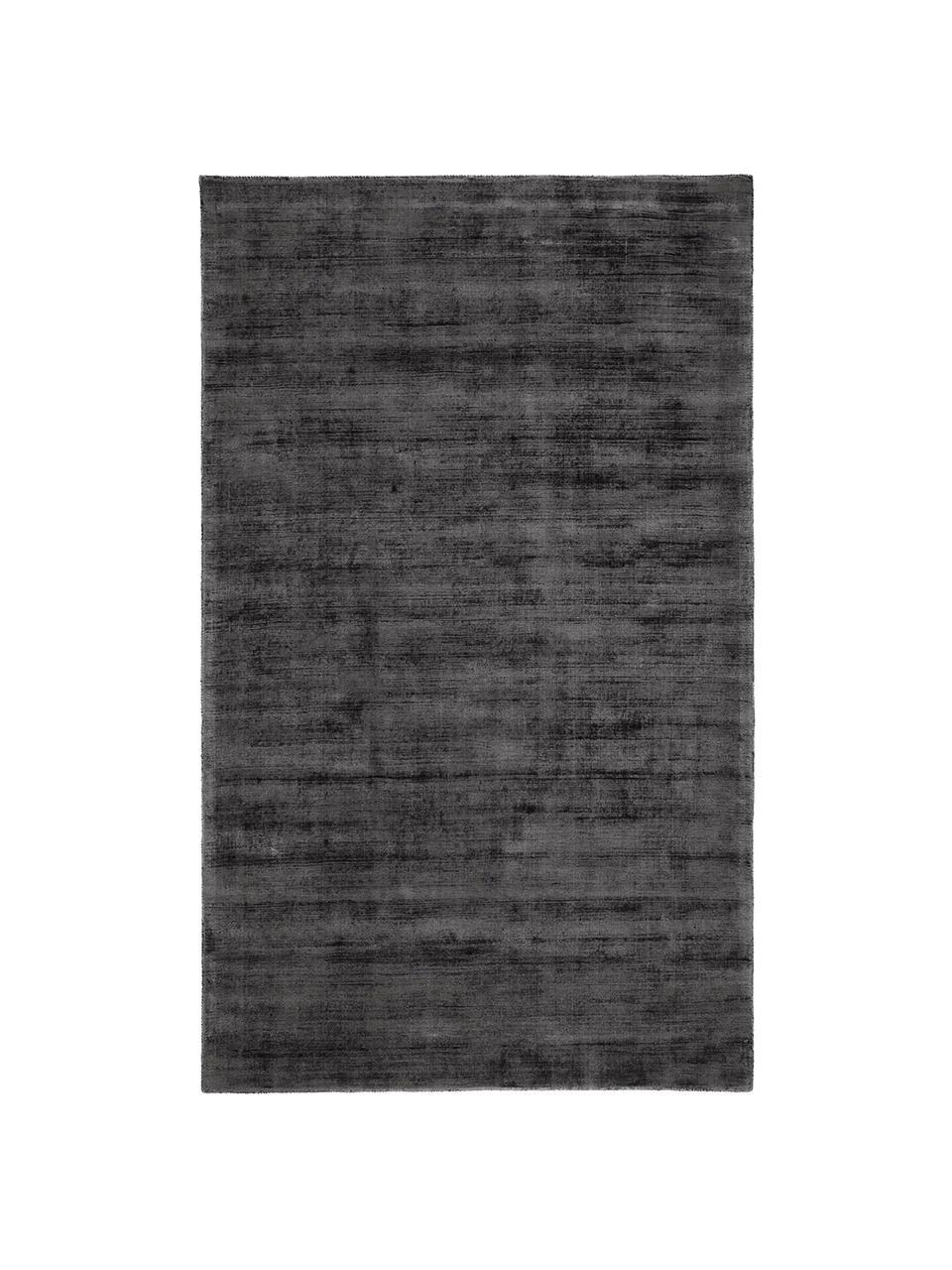 Alfombra artesanal de viscosa Jane, Parte superior: 100%viscosa, Reverso: 100%algodón, Negro antracita, An 160 x L 230 cm (Tamaño M)