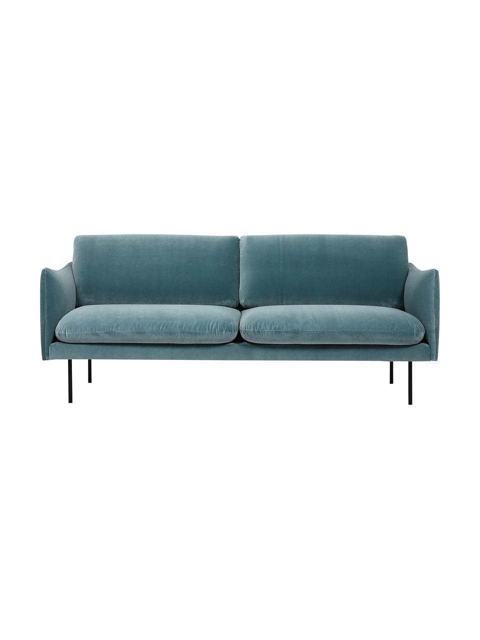Fluwelen bank Moby (2-zits) in turquoise met metalen poten, Bekleding: geweven stof (polyester), Frame: massief grenenhout, Poten: gelakt metaal, Turquoise, B 170 x D 95 cm