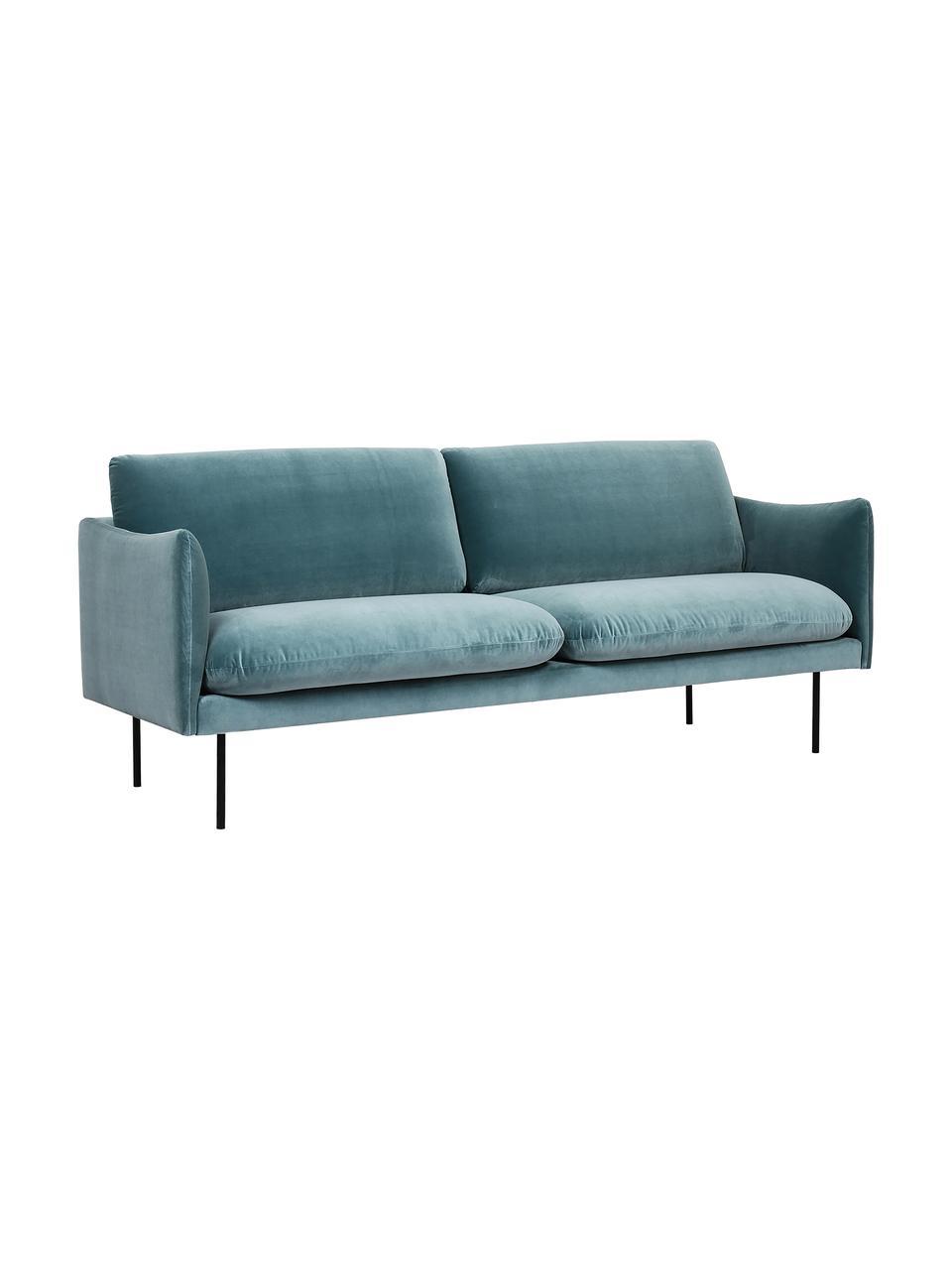 Sofa z aksamitu z metalowymi nogami Moby (2-osobowa), Tapicerka: aksamit (wysokiej jakości, Stelaż: lite drewno sosnowe, Nogi: metal malowany proszkowo, Aksamitny turkusowy, S 170 x G 95 cm