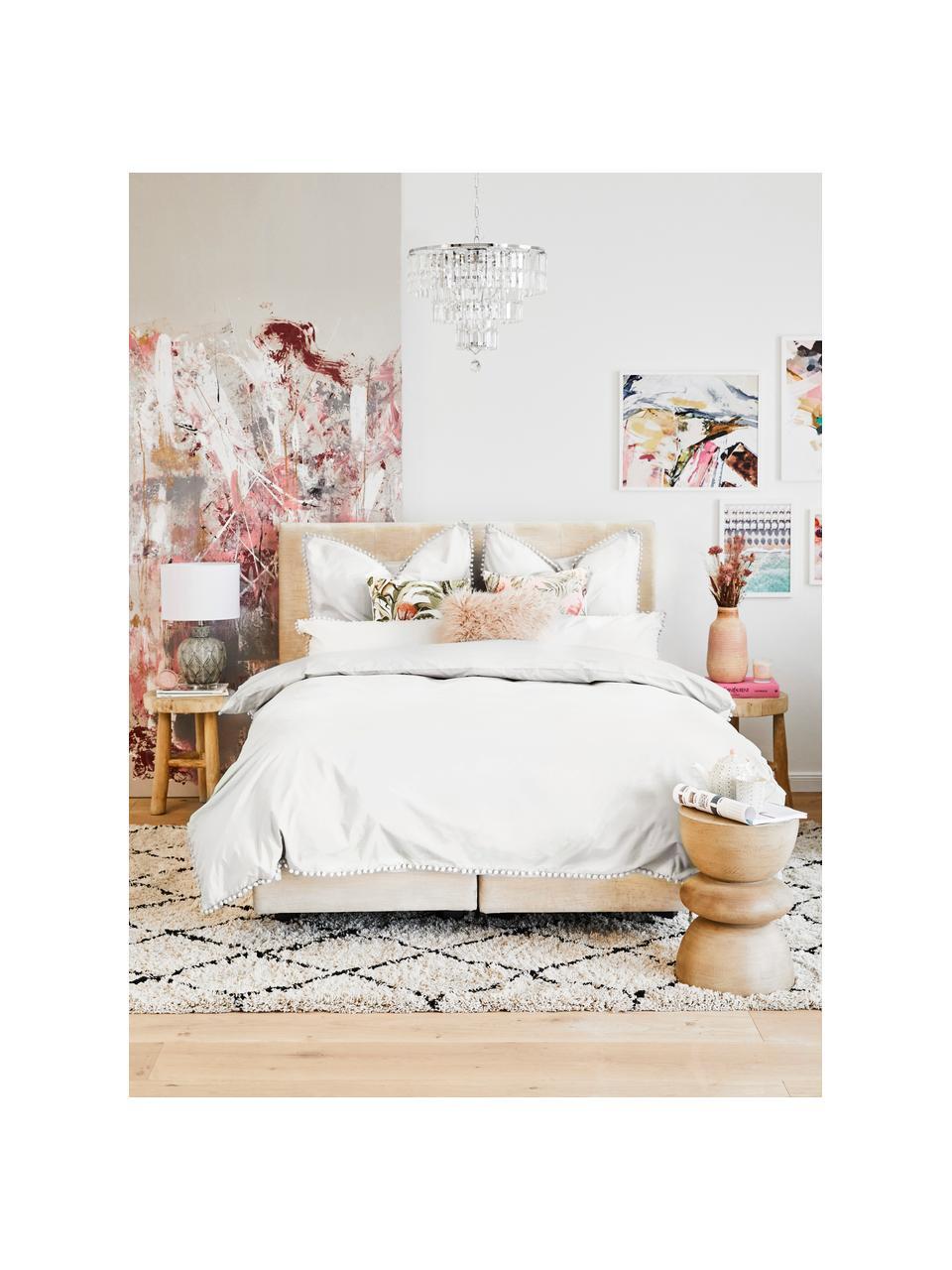 Baumwollperkal-Bettwäsche Bommy mit Pompoms, Webart: Perkal Fadendichte 200 TC, Weiß, 135 x 200 cm + 1 Kissen 80 x 80 cm
