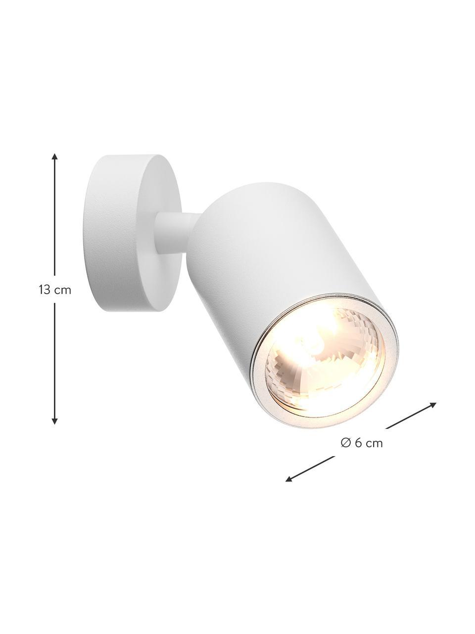 Wand- und Deckenstrahler Tori, Lampenschirm: Aluminium, beschichtet, Weiß, Ø 6 x H 13 cm