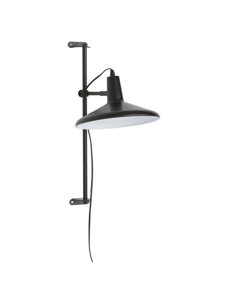 Applique grande regolabile in altezza con spina Twiss, Paralume: metallo verniciato, Struttura: metallo verniciato, Nero, Ø 25 x Alt. 50 cm