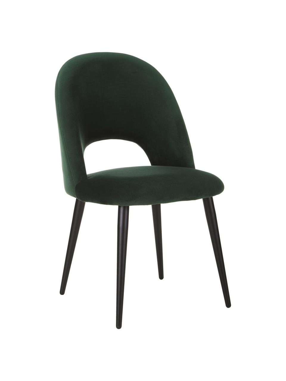 Sametová čalouněná židle Rachel, Tmavě zelená