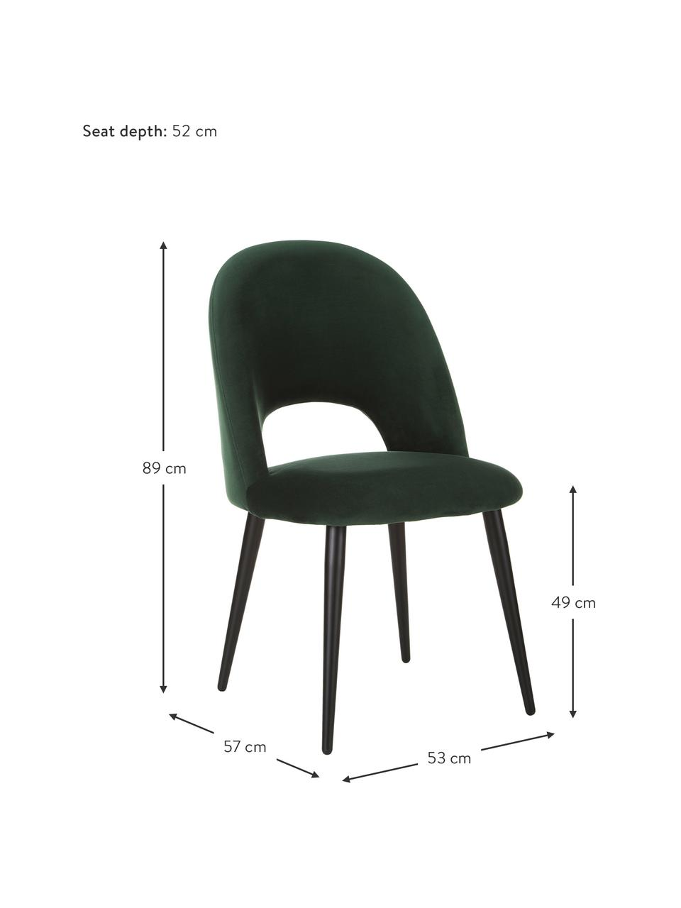 Chaise rembourrée en velours vert Rachel, Velours vert foncé