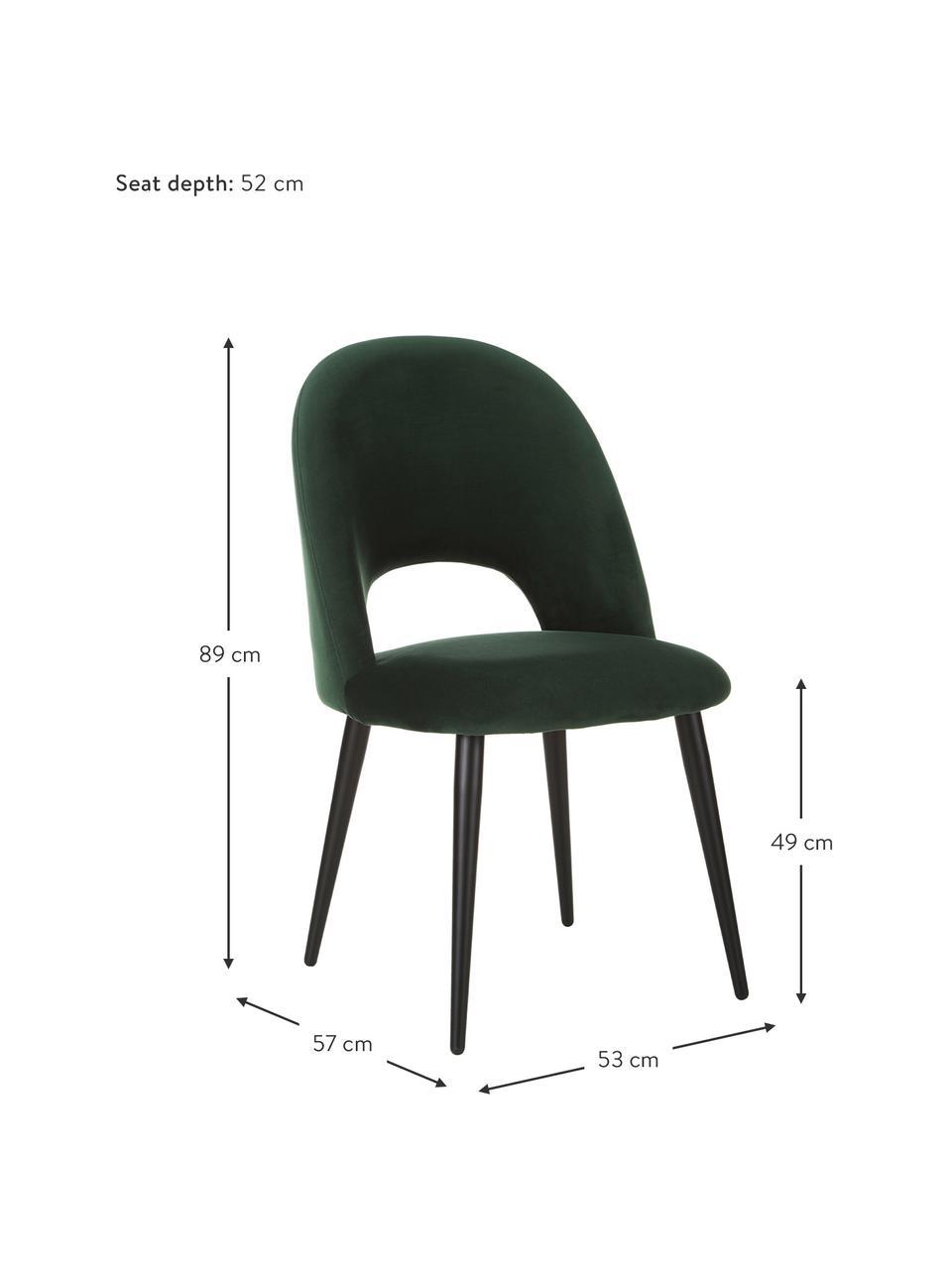 Fluwelen stoel Rachel in donkergroen, Bekleding: fluweel (hoogwaardig poly, Poten: gepoedercoat metaal, Fluweel donkergroen, B 53 x D 57 cm