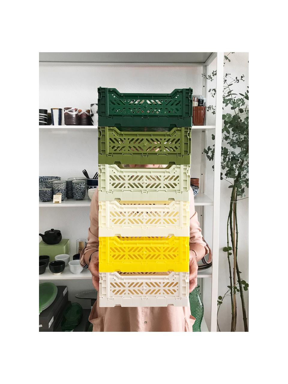 Klappbox Coconut Milk, stapelbar, medium, Recycelter Kunststoff, Gebrochenes Weiß, 40 x 14 cm