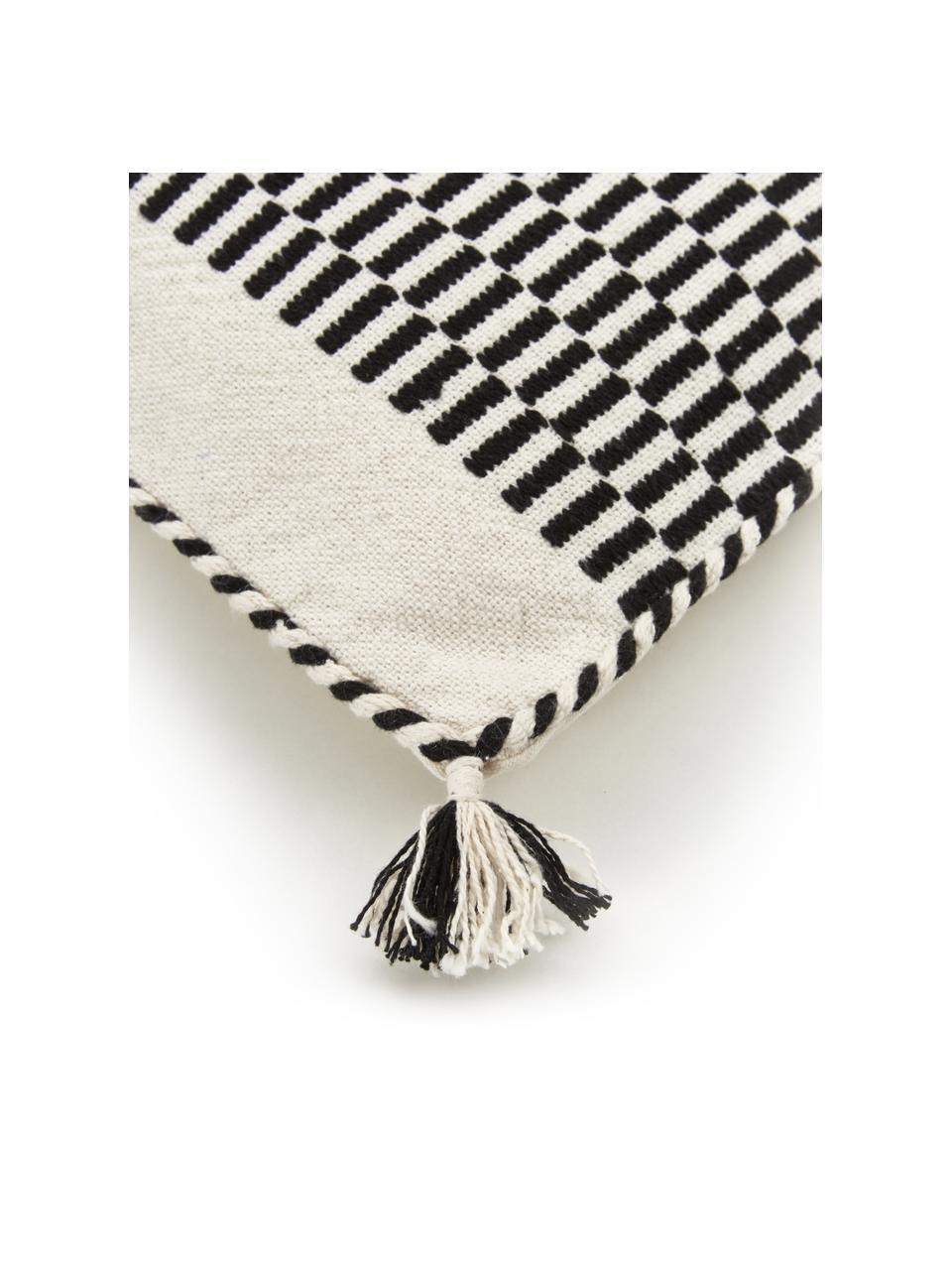 Housse de coussin 45x45 ethnique Okiro, Beige, noir