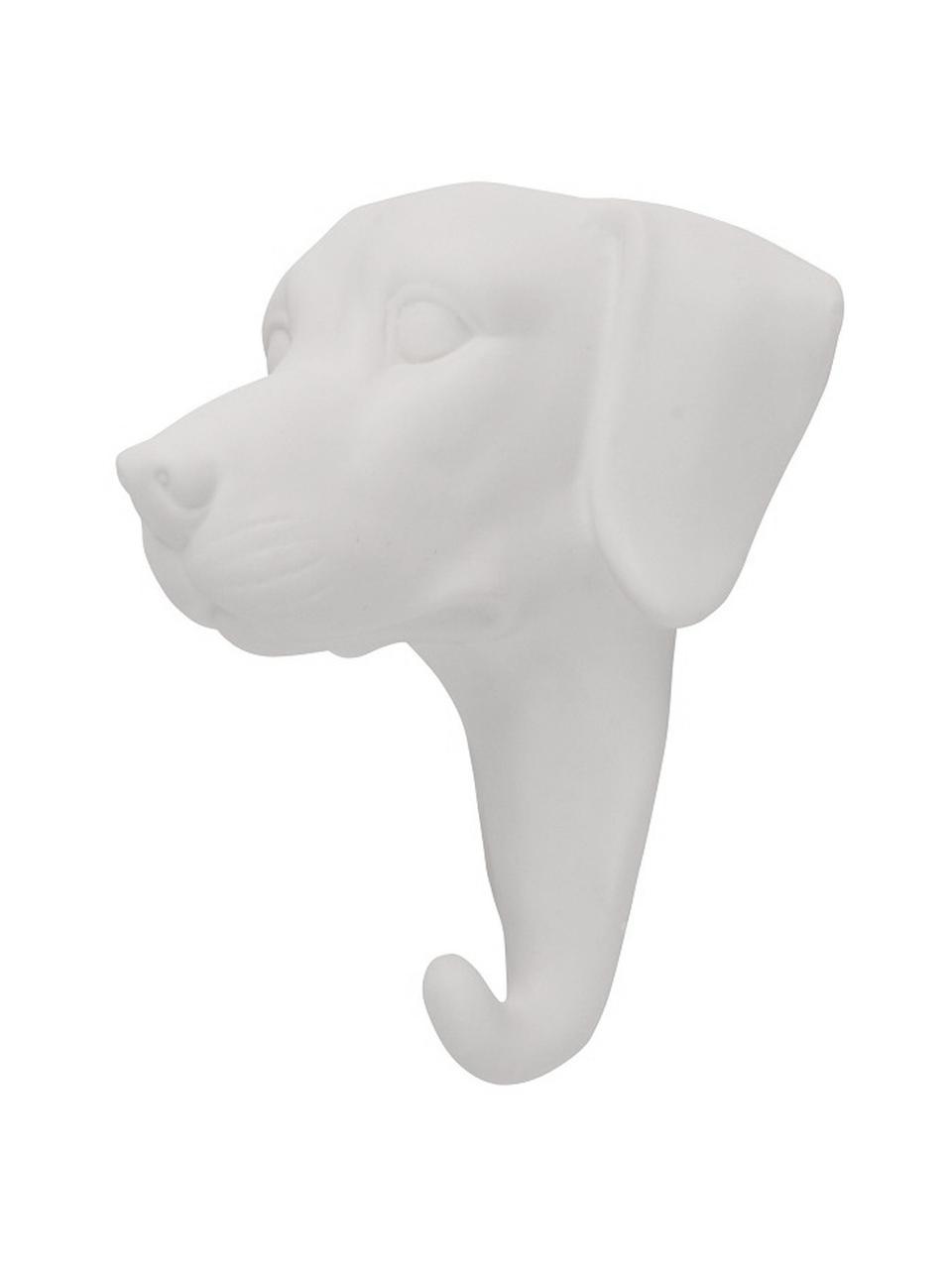 Wandhaken Dog aus Porzellan, Porzellan, Weiß, H 13 cm