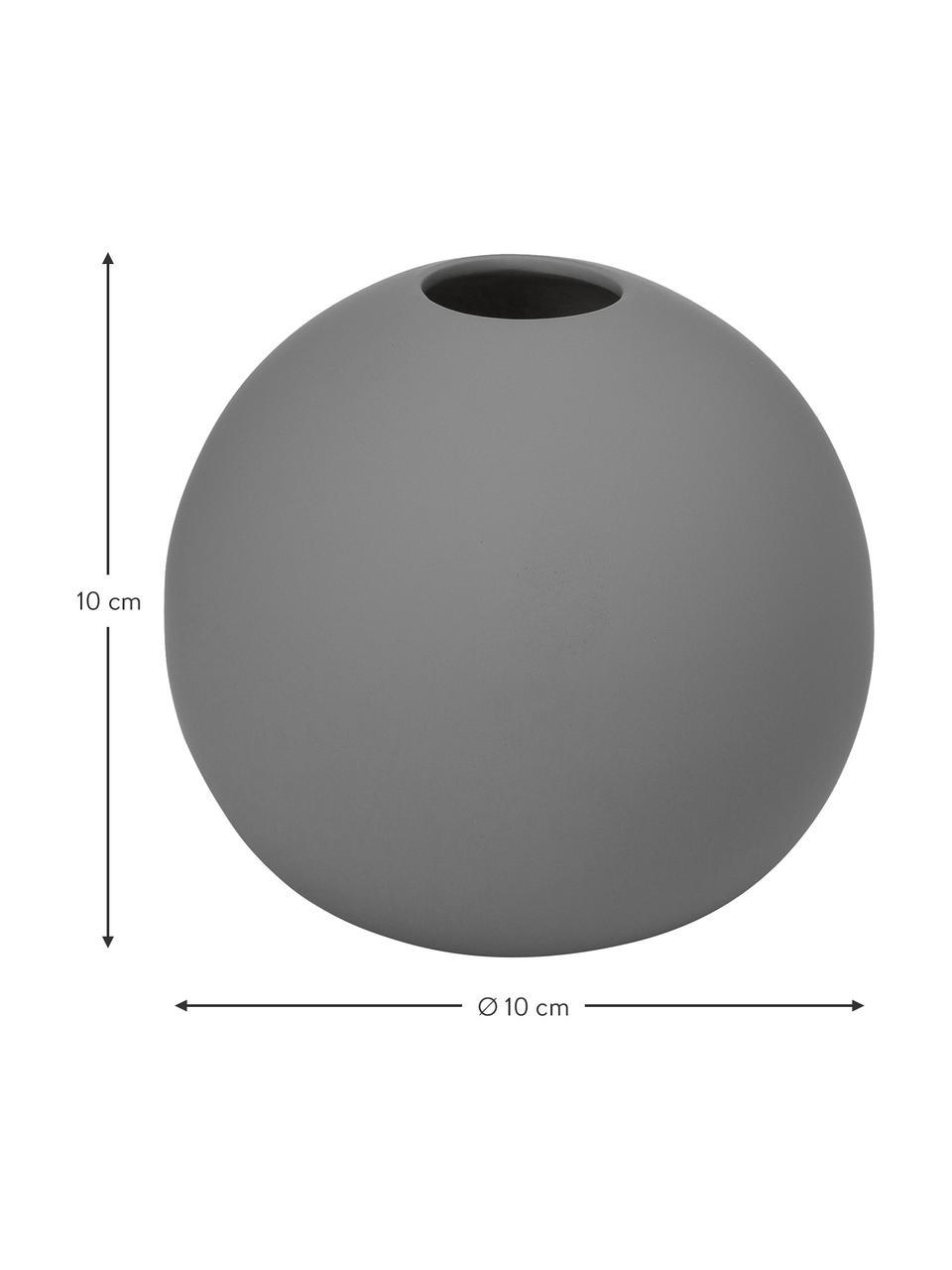 Vaso a sfera fatto a mano Ball, Ceramica, Grigio, Ø 10 x Alt. 10 cm