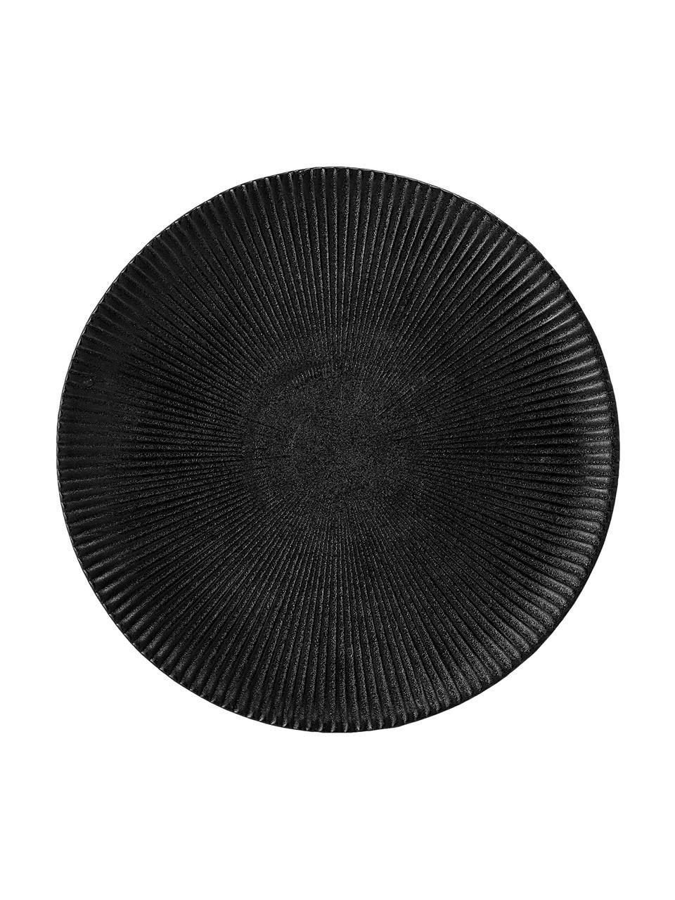 Talerz śniadaniowy Neri, 2 szt., Kamionka, Czarny, Ø 23 cm