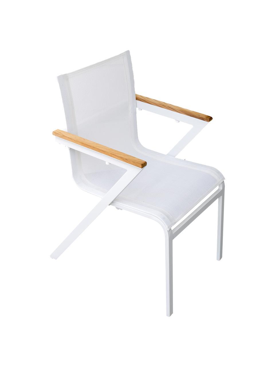 Garten-Armlehnstühle Mexico, 2 Stück, Gestell: Aluminium, lackiert, Sitzfläche: Textilene, Armlehnen: Teakholz, Weiß, Braun, B 57 x T 63 cm