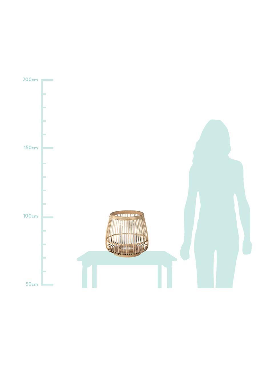 Lanterna Caits, Portacandela: bambù, Portacandela: marrone chiaro Cilindro: trasparente, Ø 31 x Alt. 29 cm