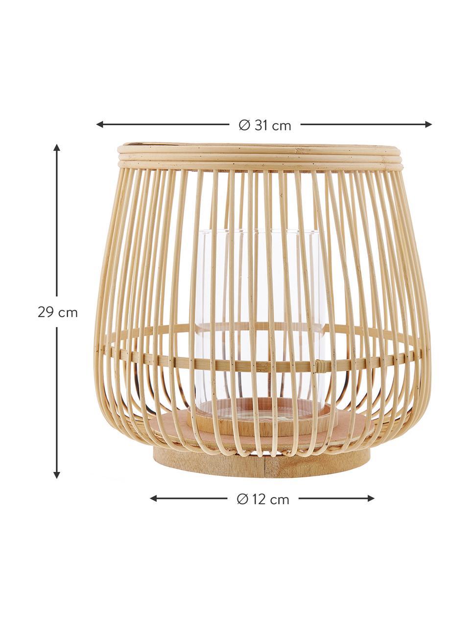 Laterne Caits, Windlicht: Bambus, Windlicht: Hellbraun Zylinder: Transparent, Ø 31 x H 29 cm