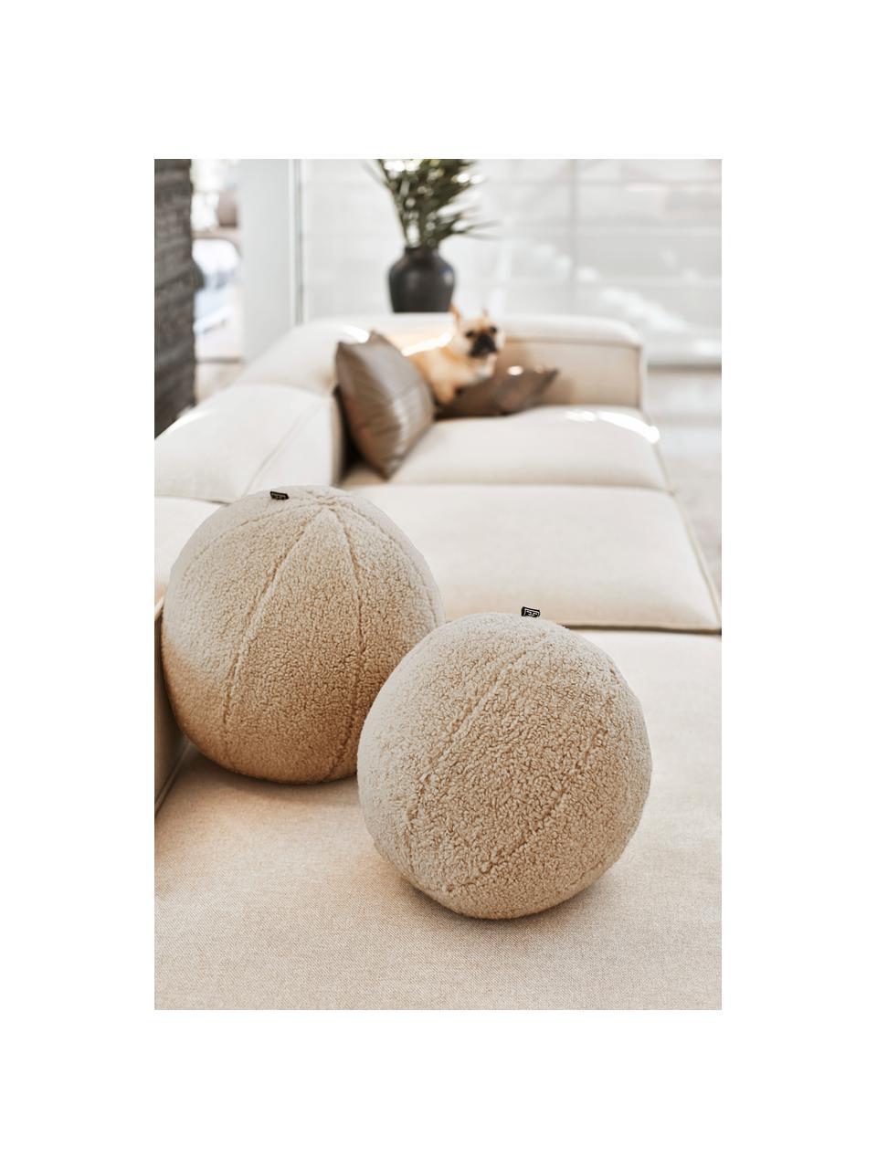 Ręcznie wykonana kulista poduszka teddy z wypełnieniem Palla, Tapicerka: 100% poliester, Odcienie piaskowego, Ø 30 cm