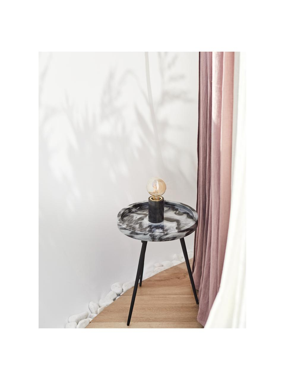 Kleine Marmor-Tischlampe Siv, Lampenfuß: Marmor, Schwarz, Ø 6 x H 10 cm
