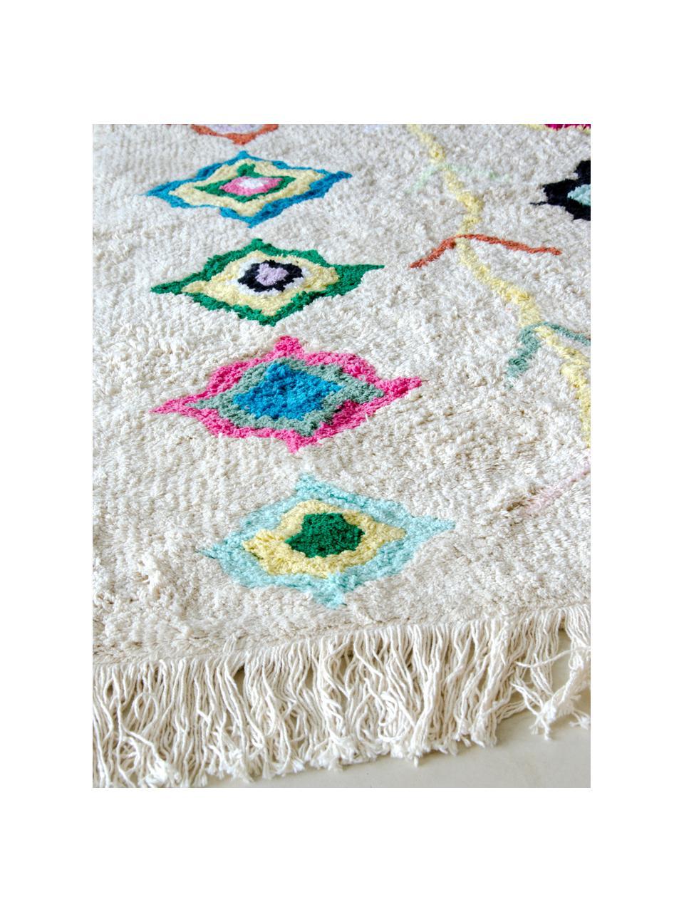 Handgefertigter Teppich Kaarol mit buntem Muster, waschbar, Recycelte Baumwolle (80% Baumwolle, 20% andere Fasern), Mehrfarbig, B 140 x L 200 cm (Größe S)