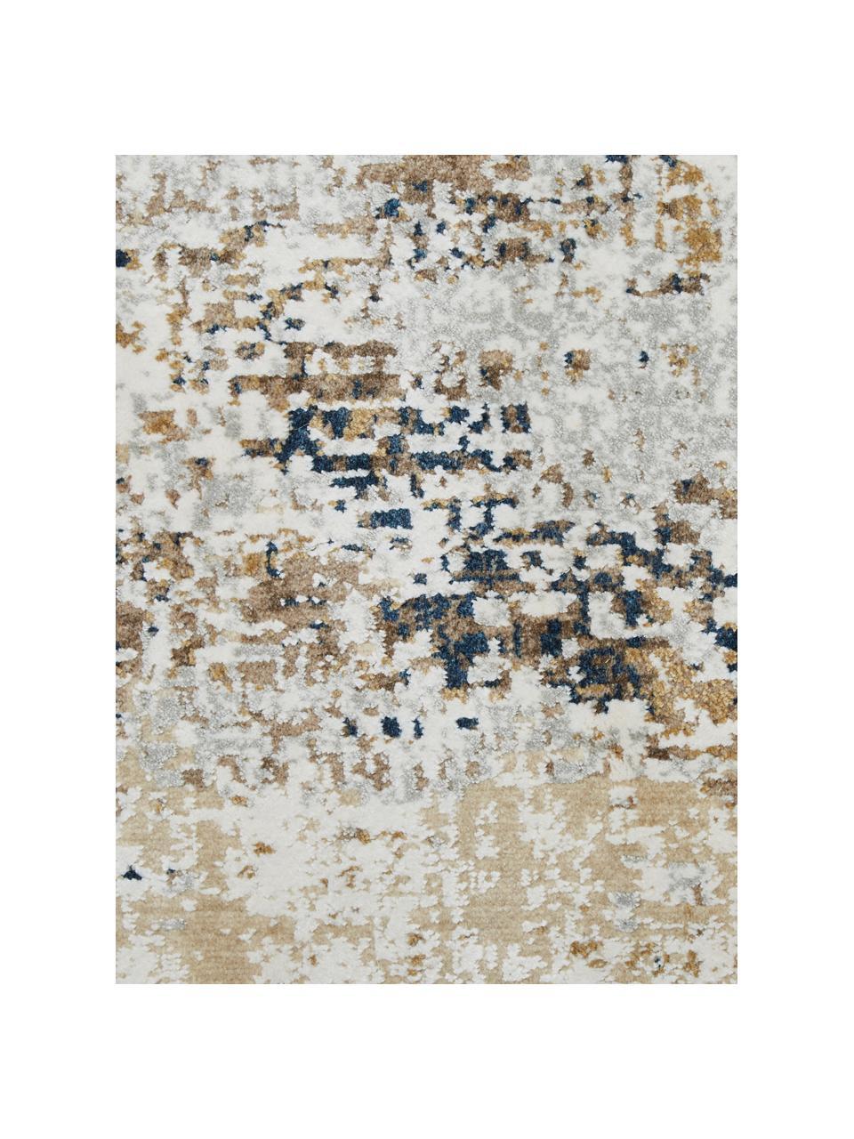 Tapis vintage Verona, Crème, beige, gris, brun, bleu foncé