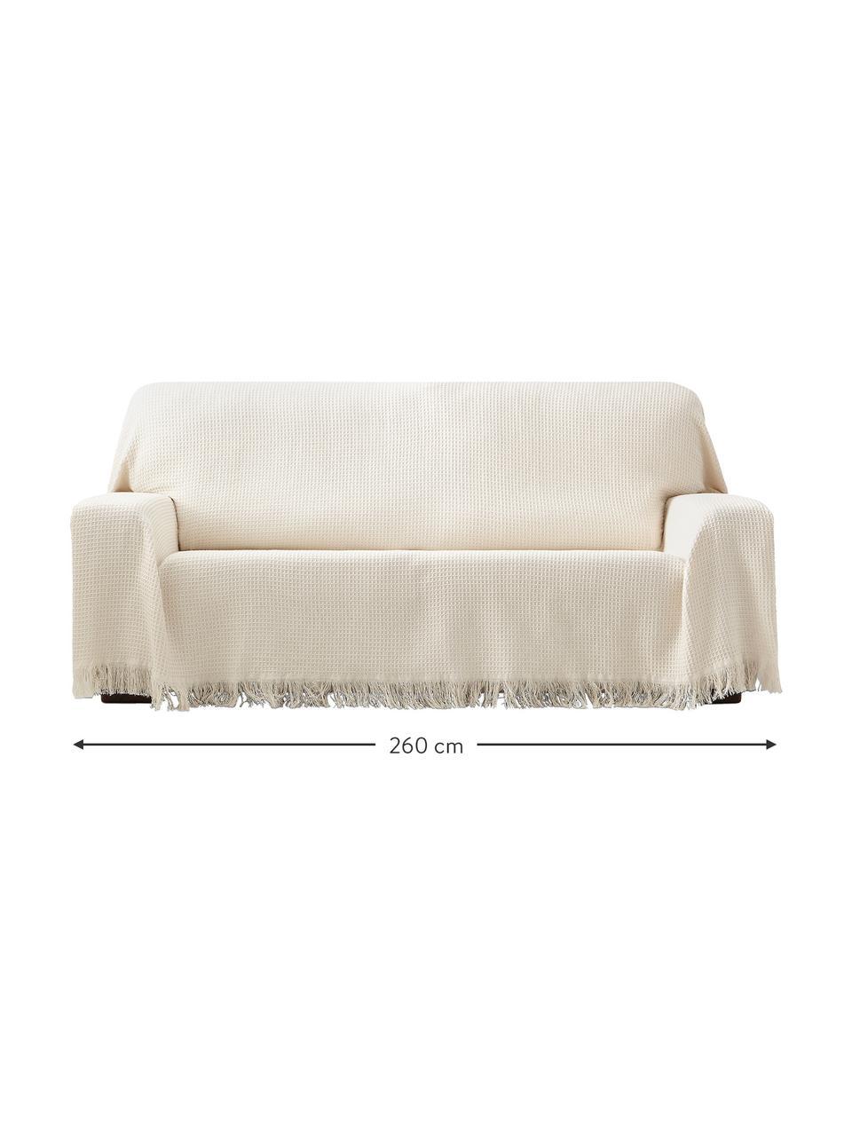 Wielofunkcyjna narzuta na sofę Amazons, 80% bawełna, 20% inne włókna, Odcienie kremowego, S 230 x D 260 cm