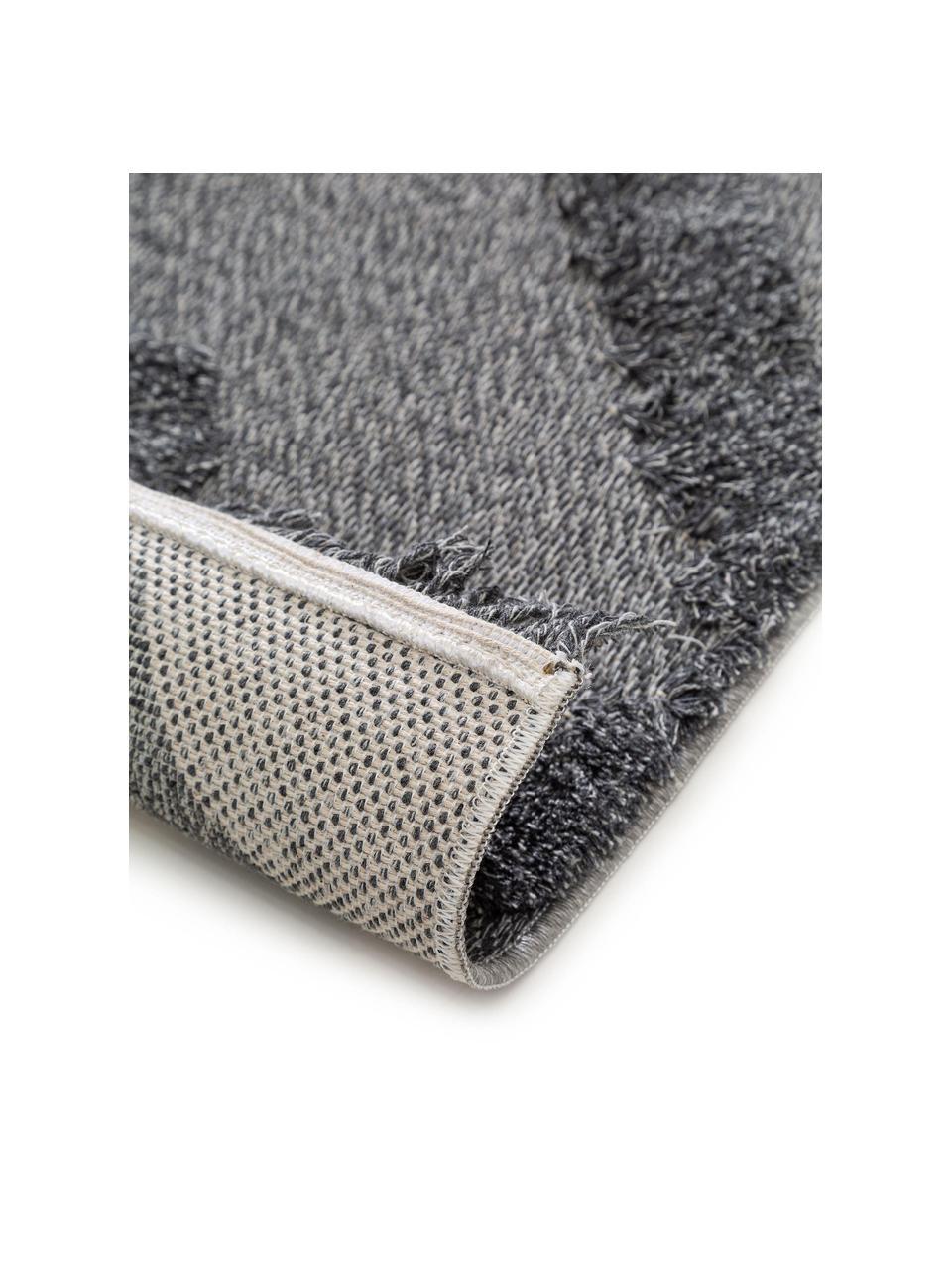 Waschbarer Baumwollteppich Oslo in Dunkelgrau mit Hoch-Tief-Muster, 100% Baumwolle, Grau, meliert, B 150 x L 230 cm (Größe M)