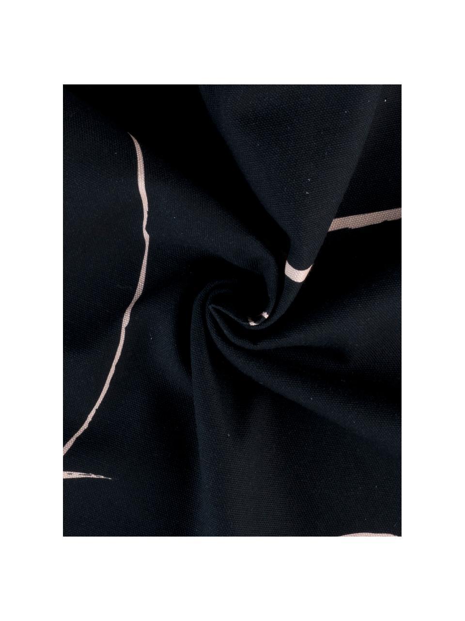 Kissenhülle Curves mit gezeichnetem Print, 100% Baumwolle, Schwarz,Rosa, 40 x 40 cm