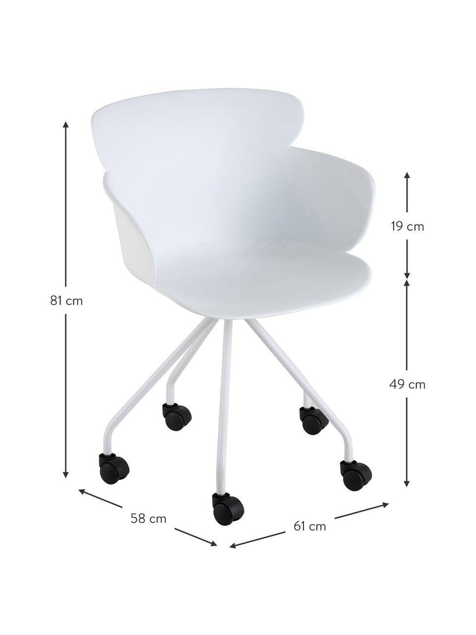 Krzesło biurowe z tworzywa sztucznego Eva, Tworzywo sztuczne (PP), Biały, S 61 x G 58 cm