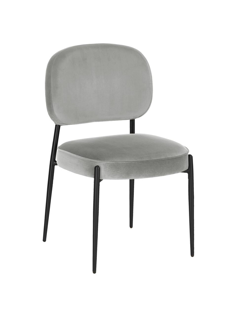 Samt-Polsterstuhl Viggo, Bezug: Samt (Polyester) Der hoch, Samt Grau, Beine Schwarz, B 49 x T 66 cm