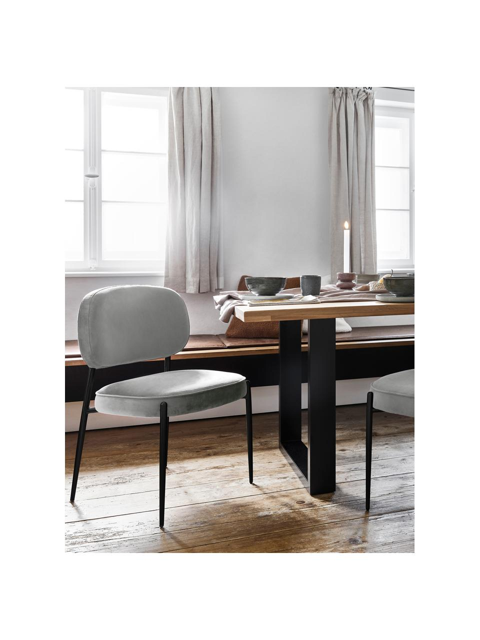 Sedia imbottita in velluto Viggo, Rivestimento: velluto (poliestere) Con , Velluto grigio Gambe: nero, Larg. 49 x Prof. 66 cm