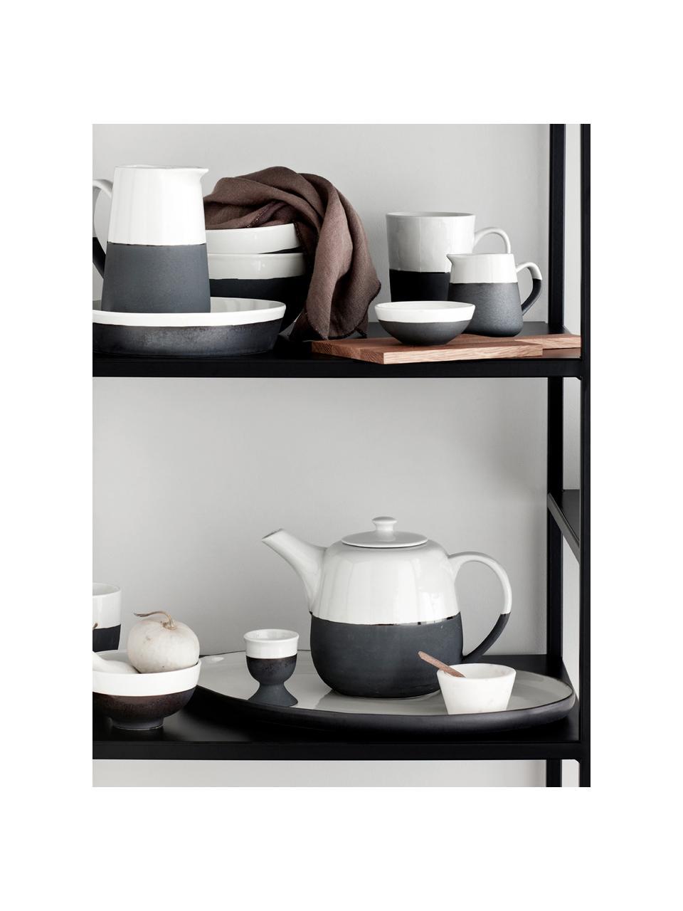 Théière artisanale bicolore Esrum, 1,4 L, Blanc ivoire, gris-brun