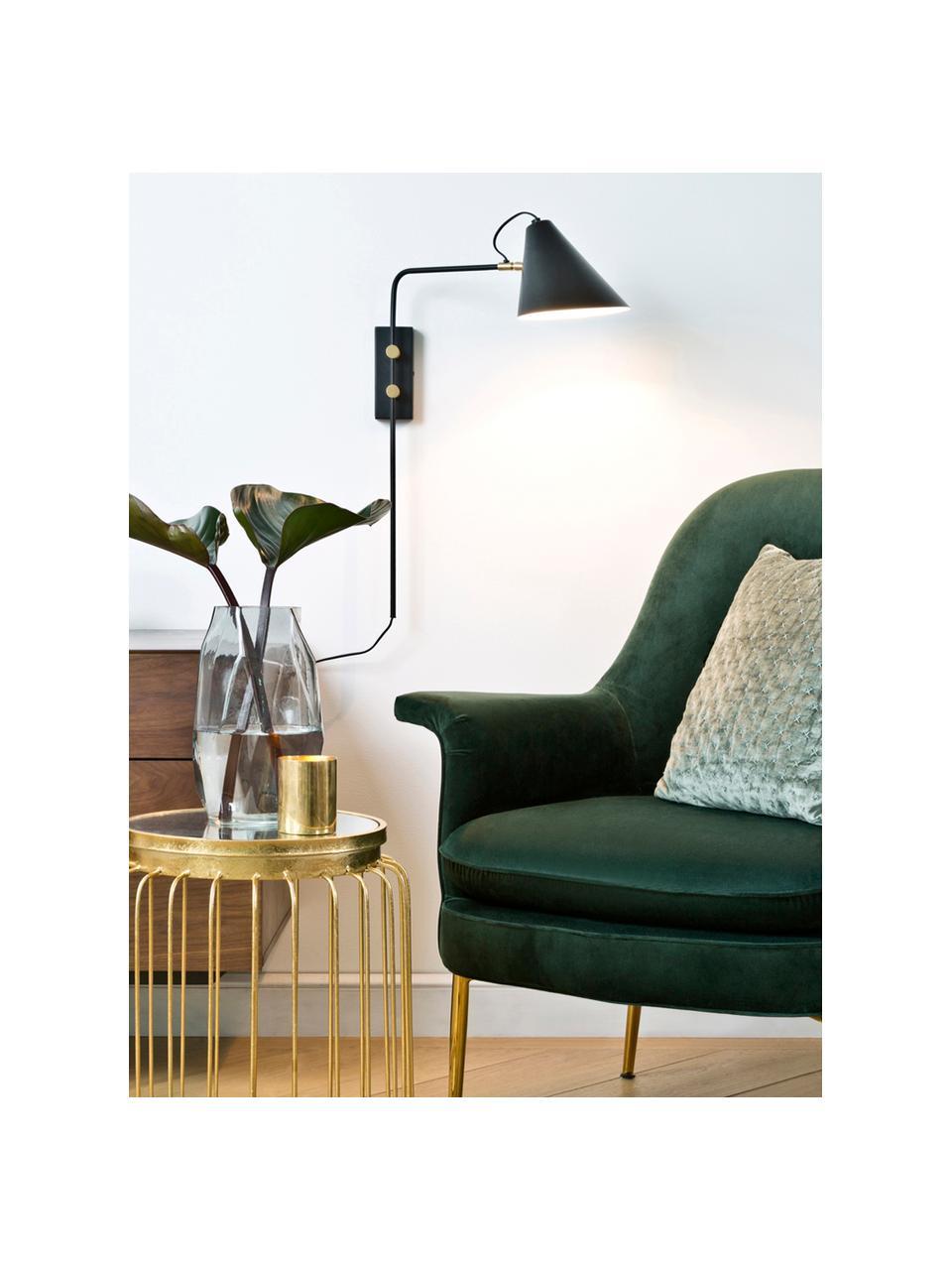 Applique con spina Club, Paralume: ferro verniciato a polver, Lampada: nero Dettagli: ottone, Larg. 18 x Alt. 62 cm
