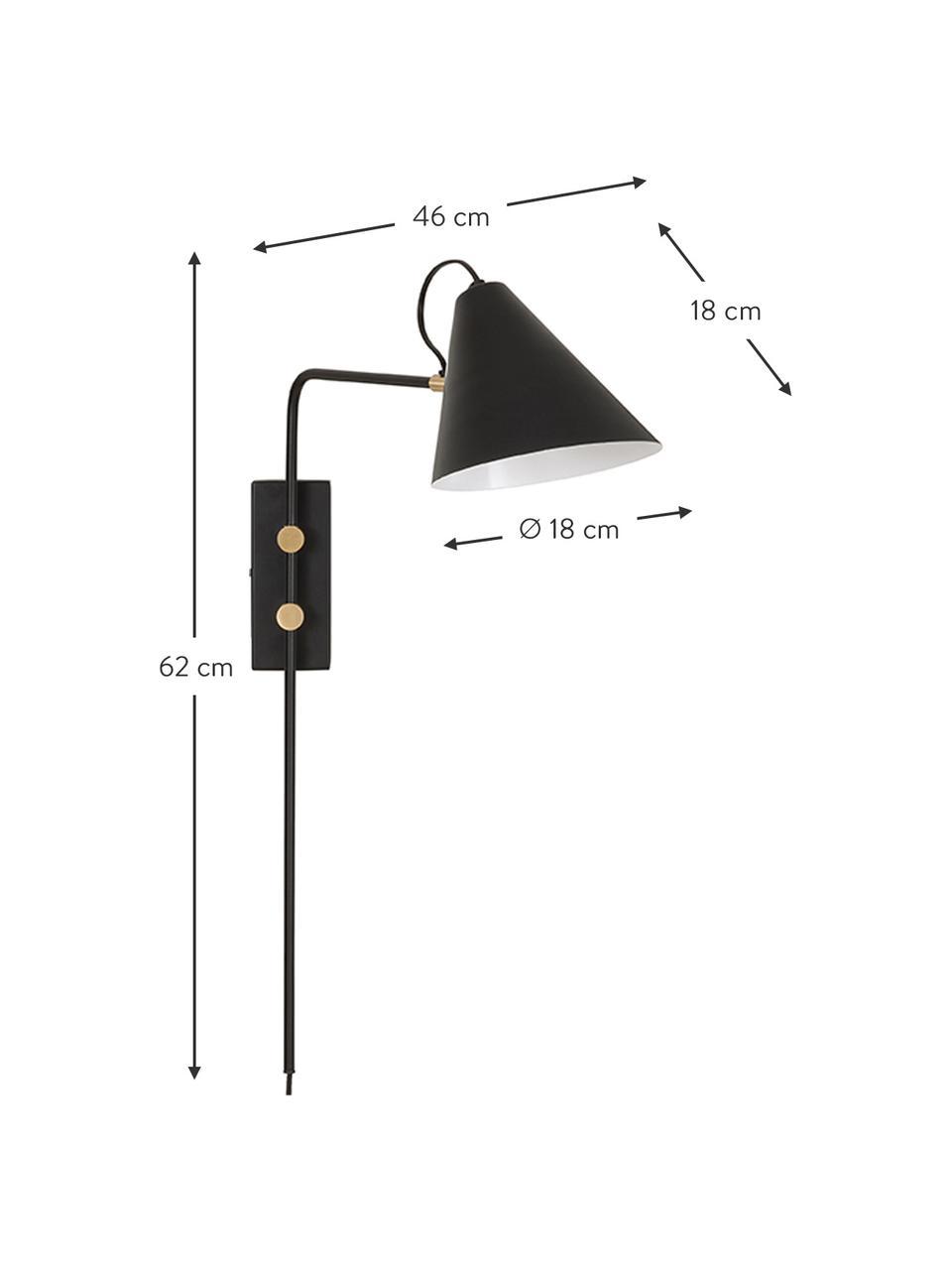 Kinkiet z wtyczką Club, Lampa: czarny Szczegóły: mosiądz, S 18 x W 62 cm