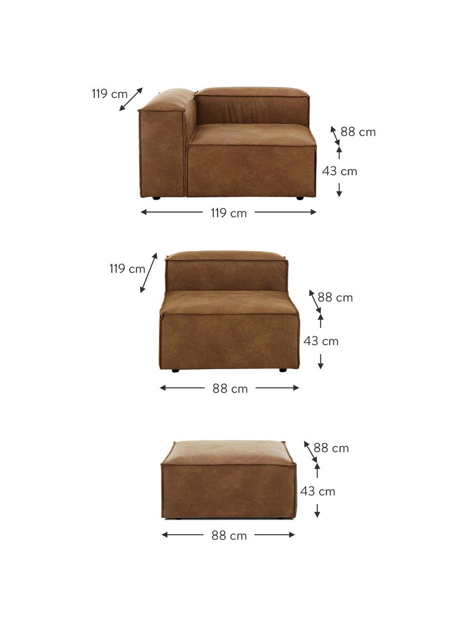 Modulares Sofa Lennon (4-Sitzer) mit Hocker in Braun aus recyceltem Leder, Bezug: Recyceltes Leder (70% Led, Gestell: Massives Kiefernholz, Spe, Füße: Kunststoff Die Füße befin, Leder Braun, B 327 x T 207 cm