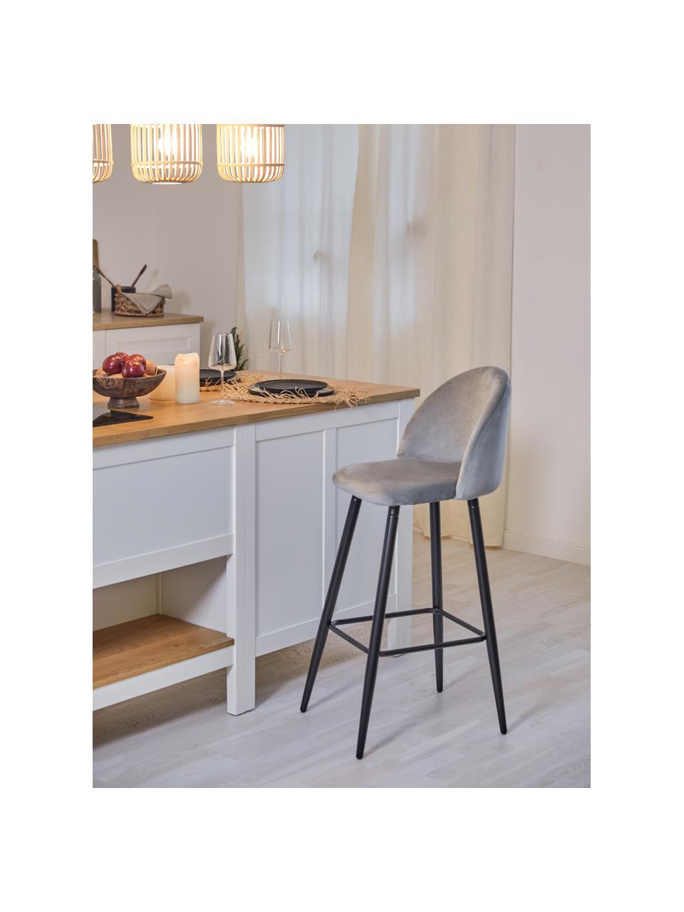 Krzesło barowe z aksamitu Amy, Tapicerka: aksamit (poliester) Tkani, Nogi: metal malowany proszkowo, Aksamitny szary, S 45 x W 103 cm
