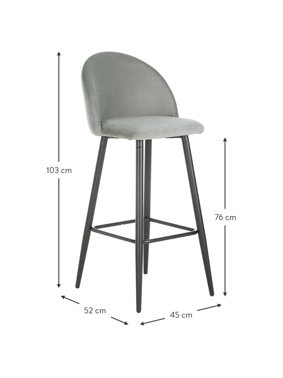 Sedia da bar in velluto grigio Amy, Rivestimento: velluto (poliestere) Il r, Gambe: metallo verniciato a polv, Rivestimento: grigio Gambe: nero opaco, Larg. 45 x Alt. 103 cm