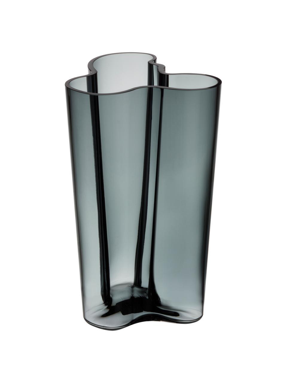 Design-Vase Alvar Aalto, Glas, Dunkelgrau, 17 x 25 cm