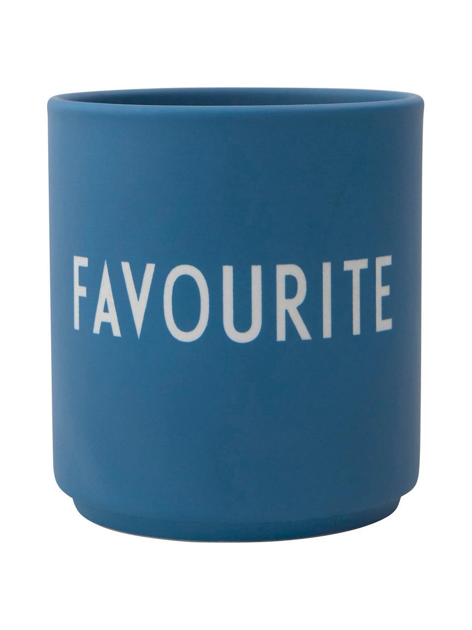 Design Becher FAVOURITE in Blau mit Schriftzug, Fine Bone China (Porzellan) Fine Bone China ist ein Weichporzellan, das sich besonders durch seinen strahlenden, durchscheinenden Glanz auszeichnet., Blau, Weiß, Ø 8 x H 9 cm