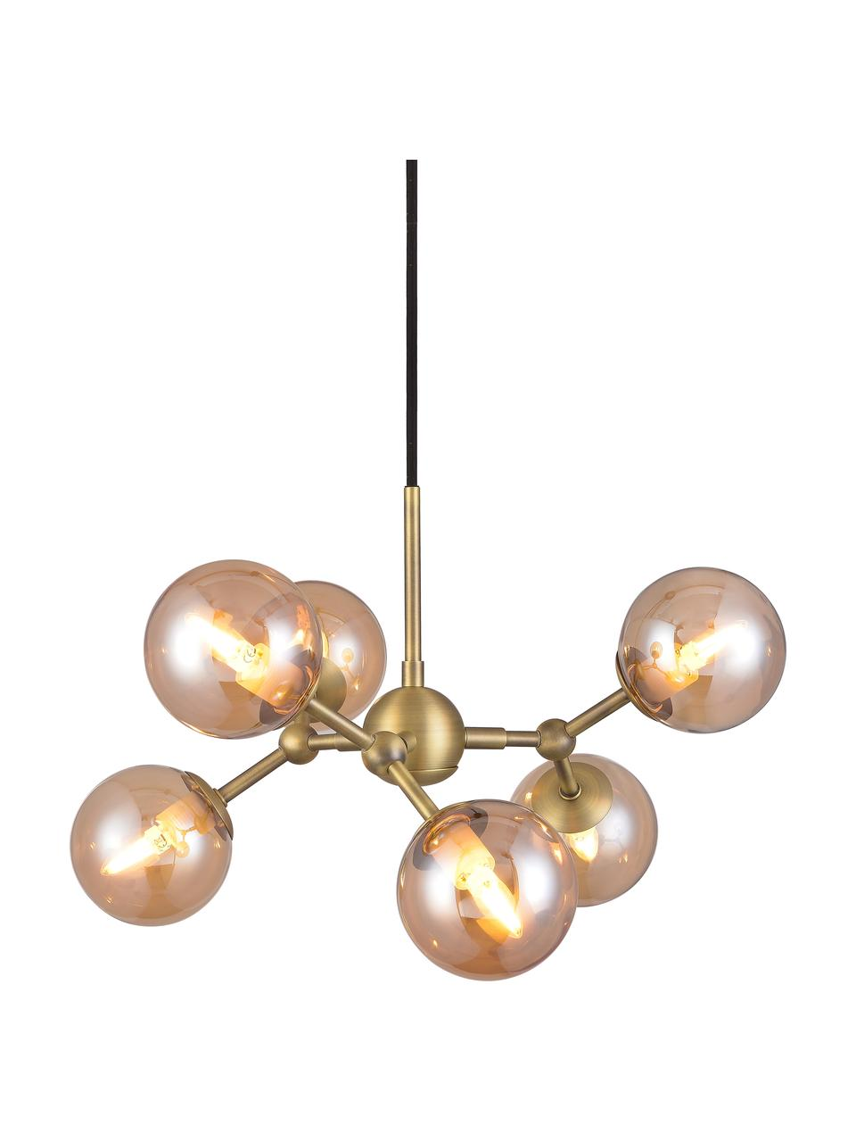 Design hanglamp Atom van glas, Lampenkap: glas, Baldakijn: kunststof, Messingkleurig, amberkleurig, Ø 45 x H 18 cm